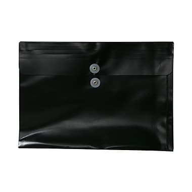 JAM Paper® Plastic Envelopes with Button and String Tie Closure, Legal Booklet, 9.75 x 14.5, Black Poly, 108/pack (219B1BLB)