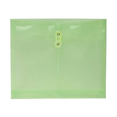 JAM Paper® Plastic Envelopes, Button String Tie Closure, Letter Booklet, 9 3/4 x 11 5/8, Lime Green, 108/pack (34130LIBULKB)