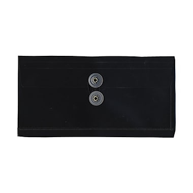 JAM Paper® #10 Plastic Envelopes with Button and String Tie Closure, 5 1/4 x 10, Black Poly, 12/pack (921B1BL)