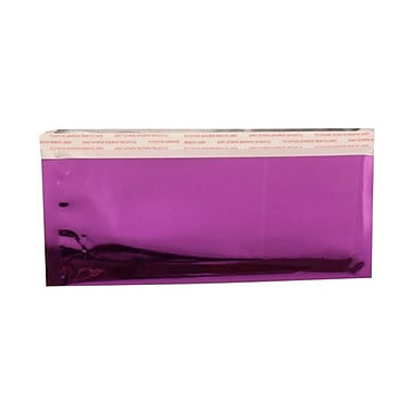 JAM Paper® 4in. x 9 1/2in. Booklet Foil Envelopes w/Peal and Seal Closure, Purple, 100/Pack