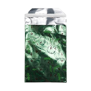 JAM Paper® 7in. x 9 1/2in. Open End Foil Envelopes w/Peal and Seal Closure, Green Mistletoe, 25/Pack