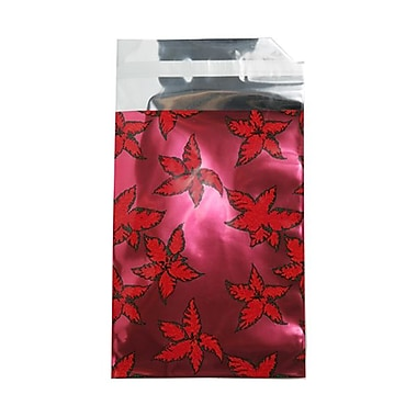JAM Paper® Foil Envelopes with Self Adhesive Closure, 7 x 9.5, Open End, Christmas Red Holly, 25/Pack (1333312)