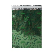 JAM Paper® 9 x 12 Open End Foil Envelopes w/Peal and Seal Closure, Green Mistletoe, 100/Pack