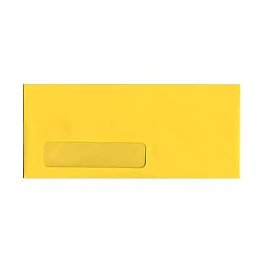 JAM Paper® #10 Window Envelopes, 4 1/8 x 9.5, Brite Hue Yellow Recycled, 100/Pack (5156482g)