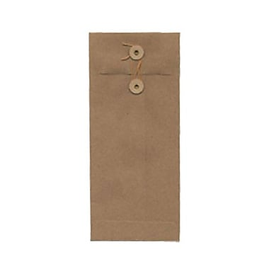 JAM Paper® 4 1/8in. x 9/12in. Open End Recycled Envelopes w/Button & String Closure, Brown Kraft, 25/Pack