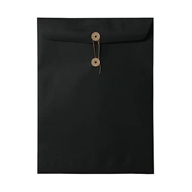 JAM Paper® 9 x 12 Open End Catalog Envelopes with Button and String Tie Closure, Black Linen Recycled, 1000/Pack (1261607B)