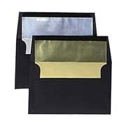 JAM Paper® 5 1/2 x 8 1/8 A8 Booklet Invitation Envelope, Black w/Sliver Foil Lining, 25/Pack