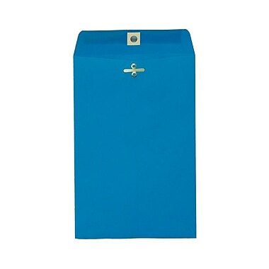 JAM Paper® 6 x 9 Open End Catalog Envelopes with Clasp Closure, Brite Hue Blue Recycled, 100/Pack (V0128123)