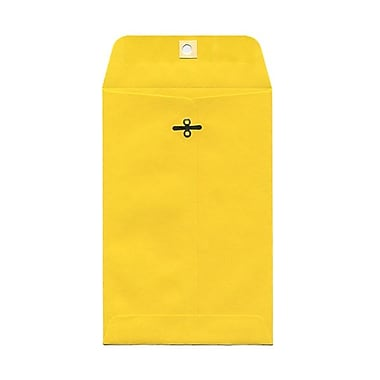 JAM Paper® 6in. x 9in. Open End Catalog Clasp Paper Envelopes, Yellow, 100/Box