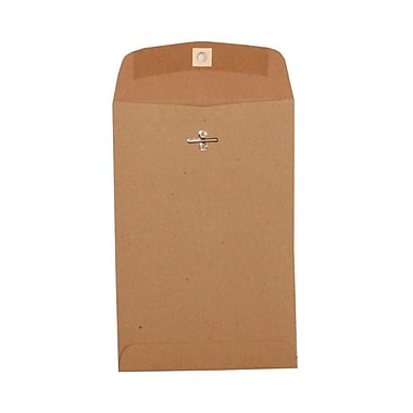 JAM Paper® 6in. x 9in. Open End Clasp Kraft Paper Bag Recycled Envelopes, Brown, 1000/Box