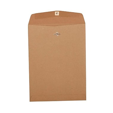 JAM Paper® 9in. x 12in. Open End Clasp Kraft Paper Bag Recycled Envelopes, Brown, 100/Box