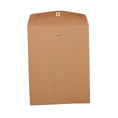 JAM Paper® 10 x 13 Open End Catalog Envelopes with Clasp Closure, Brown Kraft Paper Bag Recycled, 100/Pack (563120854B)