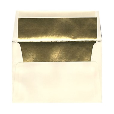 JAM Paper® A8 Foil Lined Envelopes, 5.5 x 8.125, Ecru Ivory with Gold Lining, 1000/Pack (332417064B)
