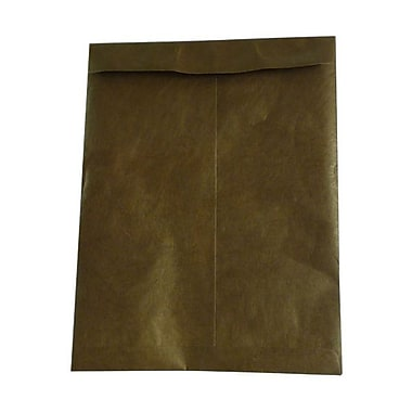 JAM Paper® 10 x 13 Tyvek Envelopes, Catalog Open End with Self Adhesive Closure, Chocolate Brown, 100/Pack (3217726g)