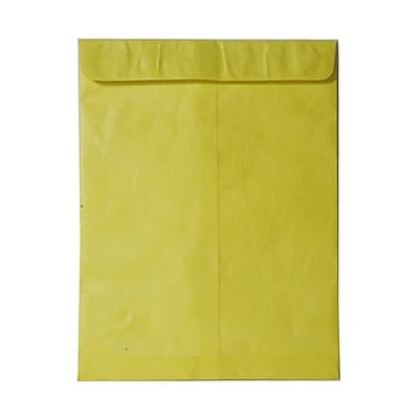 JAM Paper® 10 x 13 Tyvek Envelopes, Catalog Open End with Self Adhesive Closure, Yellow, 100/Pack (v021385g)