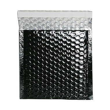 JAM Paper® 6in. x 6 1/2in. Square Metallic Bubble Envelopes w/Peel and Seal Closure, Black, 12/Pack