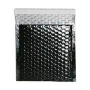 JAM Paper® 6 x 6 1/2 Square Open Metallic Bubble Envelopes w/Peel and Seal Closure, Black, 12/Pack