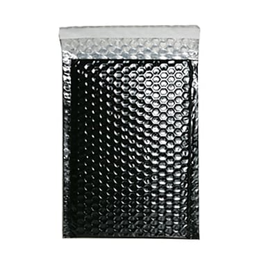 JAM Paper® Bubble Mailers with Peel and Seal Closure, 6.38 x 9.5, Black Metallic, 12/Pack (2744433)