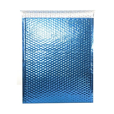 JAM Paper® Bubble Mailers with Peel and Seal Closure, 12 x 15.5, Blue Metallic, 12/Pack (2745206)