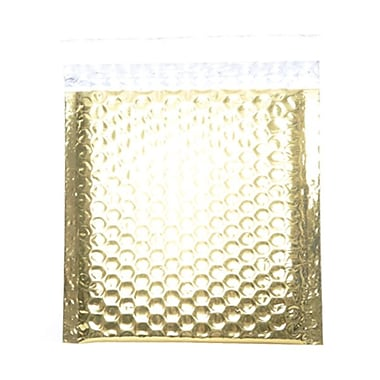 JAM Paper® 6in. x 6 1/2in. Square Open Metallic Bubble Envelopes w/Peel and Seal Closure, Gold, 12/Pack