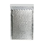 "JAM Paper® 6.38"" x 9.5"" Open End Metallic Bubble Envelopes w/Peel and Seal Closure, Silver, 12/Pack"