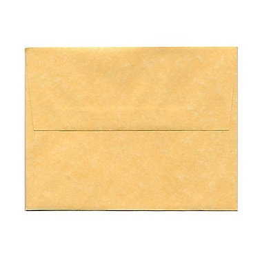 JAM Paper® A2 Invitation Envelopes, 4.38 x 5.75, Parchment Antique Gold Yellow Recycled, 100/Pack (55574g)