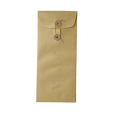 Jam 4 1/8in. x 9/12in. Open End Stardream Envelopes with Button and String Closure, Gold, 1000/Pack