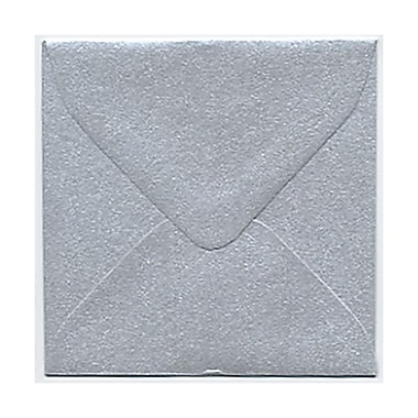 JAM Paper® Square Stardream Metallic Envelopes with Gum Closures, Silver