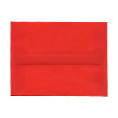 JAM Paper® A2 Invitation Envelopes, 4.38 x 5.75, Red Translucent Vellum, 100/Pack (PACV605g)
