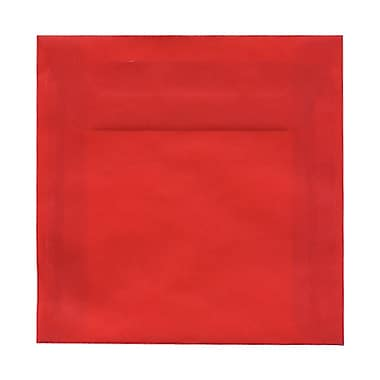 JAM Paper® 6.5 x 6.5 Square Envelopes, Red Translucent Vellum, 100/Pack (1592122g)