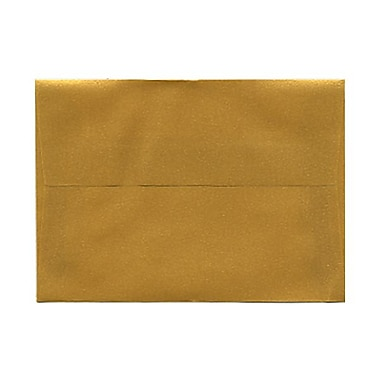 JAM Paper® 4bar A1 Envelopes, 3.63 x 5 1/8, Gold Translucent Vellum, 100/Pack (1591606g)