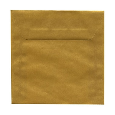 JAM Paper® 6 x 6 Square Envelopes, Gold Translucent Vellum, 100/Pack (PACV577g)