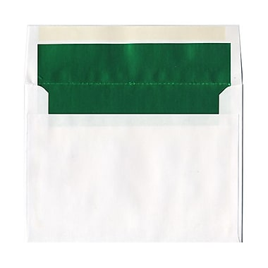JAM Paper® 6 x 8 Foil Lined Envelopes, White with Green Lining, 100/Pack (3243677g)
