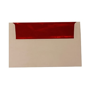 JAM Paper® A10 Foil Lined Envelopes, 6 x 9.5, White with Red Lining, 100/Pack (900905662g)
