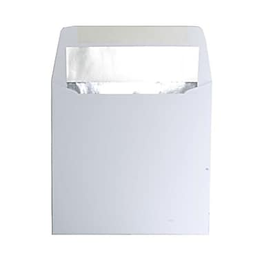 JAM Paper® 6 x 6 Square Foil Lined Envelopes, White with Silver Lining, 100/Pack (3244688g)