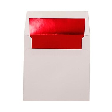 JAM Paper® 8.5 x 8.5 Square Foil Lined Envelopes, White with Red Lining, 100/Pack (3244693g)