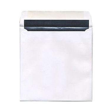 JAM PaperMD – Enveloppes carrées avec revêtement intérieur et ferm. gom., 8 1/2 x 8 1/2 po, blanc avec int. argenté, paq./100