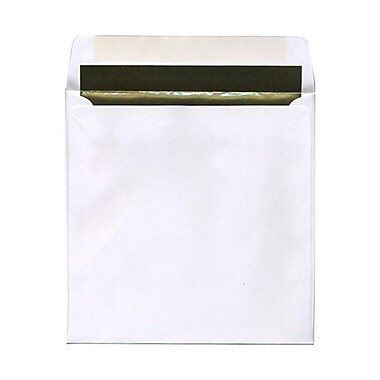 JAM Paper® 8.5 x 8.5 Square Foil Lined Envelopes, White with Gold Lining, 100/Pack (3244692g)