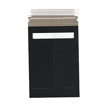 JAM Paper® 6in. x 9in. Kraft Paper Recycled Photo Mailers Envelopes With Peel and Seal Closure, Black, Sold Individually