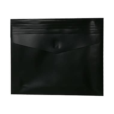 JAM Paper® Plastic Envelopes with VELCRO® Brand Closure, 2 Expansion, Letter Booklet, 9.75 x 13, Black Poly, 12/pack (218V2BL)