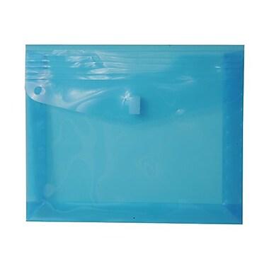JAM Paper® Plastic Envelopes with VELCRO® Brand Closure, 2 Expansion, Letter Booklet, 9.75 x 13, Blue Poly, 12/pack (218V2BU)