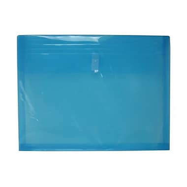 JAM Paper® Plastic Envelopes with VELCRO® Brand Closure, 1 Expansion, Letter Booklet, 9.75 x 13, Blue Poly, 12/pack (218V1BU)