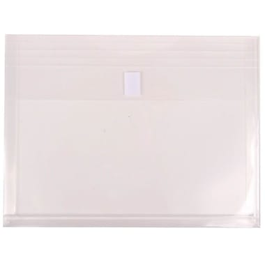 JAM Paper® Plastic Envelopes with VELCRO® Brand Closure, 1 Expansion, Letter Booklet, 9.75 x 13, Clear Poly, 12/Pack (218V1CL)