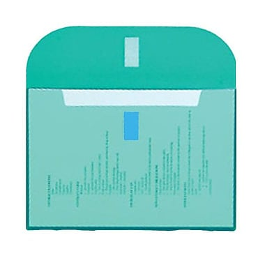 JAM Paper® Plastic Envelopes, VELCRO® Brand Closure, 1 Expansion, Letter Booklet, 8.6 x 11.5, Teal Blue Poly, 12/pack (218VC1TE)