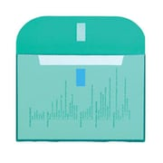 "JAM Paper® 8 5/8"" x 11 1/2"" Plastic Letter Booklet VELCRO® Brand Closure Envelopes, Teal, 12/Pack"