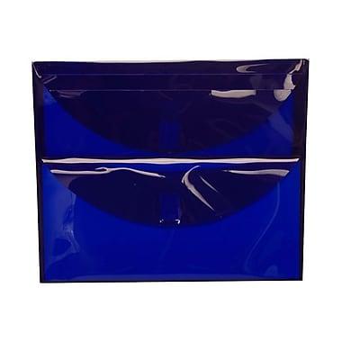 JAM Paper® Plastic 2 Pocket Envelopes, VELCRO® Brand Closure, Letter Booklet, 9.75 x 13, Blue Poly, 12/Pack (B35212)