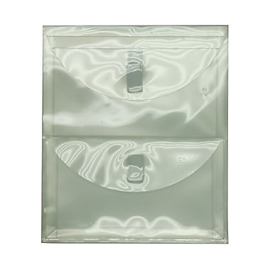 JAM Paper® 9 3/4in. x 11 3/4in. 2 Pocket Letter Open End Plastic Envelopes w/VELCRO® Brand Closure, Clear, Sold Individually