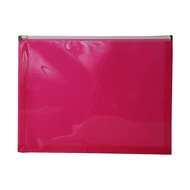 Jam PaperMD – Enveloppes en plastique, fermeture à glissière, format lettre, 9 1/2 x 12 1/2 po, rose vif, 12/pqt