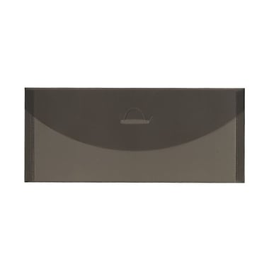 JAM Paper® #10 Plastic Envelopes with Tuck Flap Closure, 4.25 x 9.75, Smoke Grey Poly, 24/Pack (1544641g)