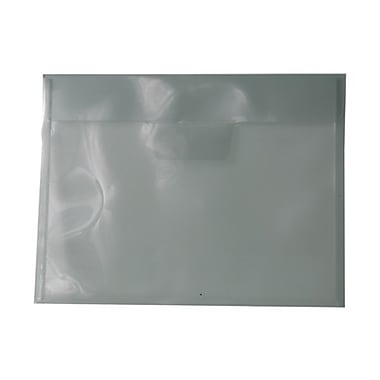 JAM Paper® Plastic Envelopes with Tuck Flap Closure, Letter Booklet, 8 7/8 x 12, Smoke Grey Poly, 12/Pack (1541737)